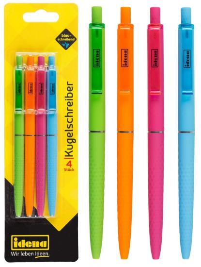 Kugelschreiber, 4 Stück, blauschreibend, in Trendfarben