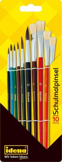 Schulmalpinsel, 10-teilig, Haar- und Borstenpinsel, lackiert