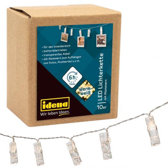 10er LED Lichterkette mit Klammern, warmweiß, für innen, batterieb., Timer