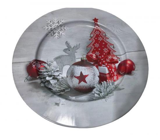 Metallteller,  Ø 33 cm, mit Weihnachtsmotiv