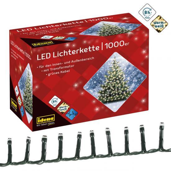 1.000er LED-Lichterkette, warmweiß, für innen & außen, mit Timer