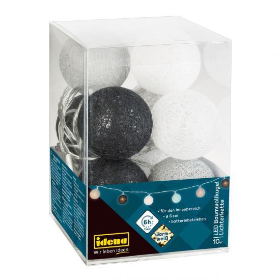 10er LED Baumwollkugel-Lichterkette, ø 6 cm, warmweiß, für innen, batteriebetrieben, mit Timer