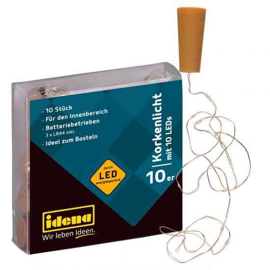 10er Set Korkenlicht, mit je 10 LED´s, warmweiß, inklusive Batterien