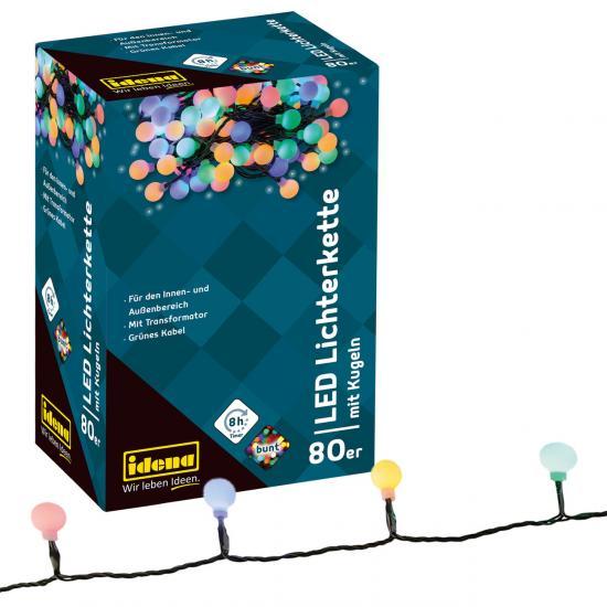 80er LED Lichterkette mit Kugeln, bunt, für innen/außen, Timer