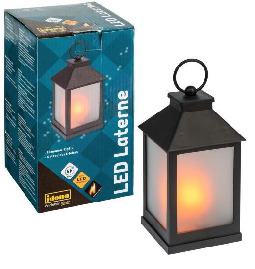 LED Laterne in Flammen-Optik, 10 x 22 cm, batterieb., Timer, IP20