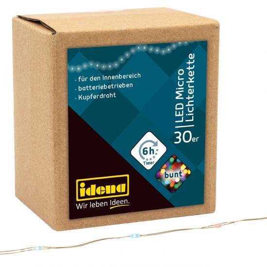 30er LED Micro-Lichterkette, bunt, für Innen, batterieb., Timer