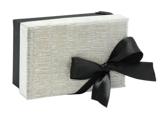 Geschenkbox, 10,5 x 7 x 4,5 cm, silber/schwarz