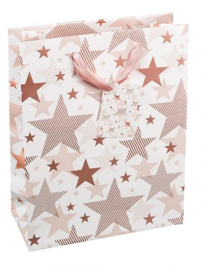 "Geschenktasche ""Stars rosé"", 23 x 18 x 8 cm"