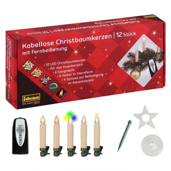 12 kabellose Christbaumkerzen, LED, mit Fernbedienung, bernstein-warmweiß-bunt, dimmbar & Flackereffekt, mit Halterungen