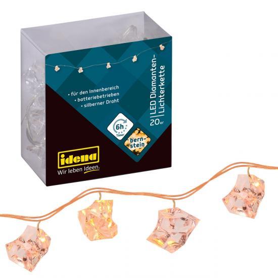 20er LED Diamanten-Lichterkette, bernstein, für innen, batteriebetrieben, mit Timer