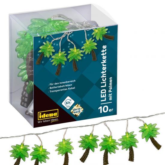 10er LED Lichterkette mit Palmen, warmweiß, für innen, batterieb., Timer