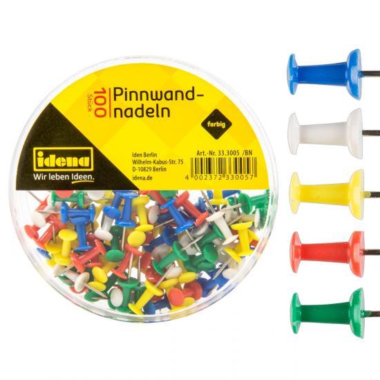 Pinnwandnadeln, 100 Stück, farbig sortiert