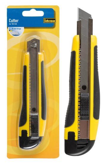 Cutter, 16,5 cm, Klinge 18 mm, aus Kunststoff, schwarz/gelb