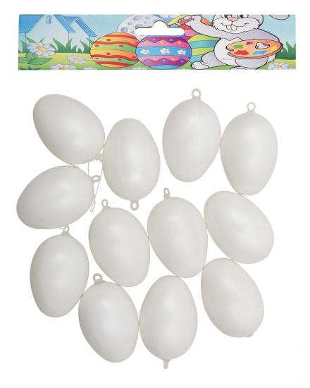 Ostereier, 12 Stück, ca. 6 cm, aus Kunststoff, weiß