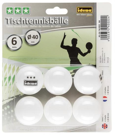 Tischtennisbälle, 6er-Set, 3 Sterne, weiß