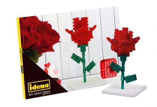 Postkarte Minibausteine Rose