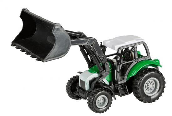 Traktor mit Frontlader und Rückziehmotor, 14 cm