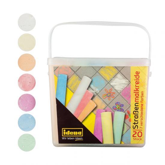 Straßenmalkreide, 20 Stangen, 7 Farben, in einer praktischen Box