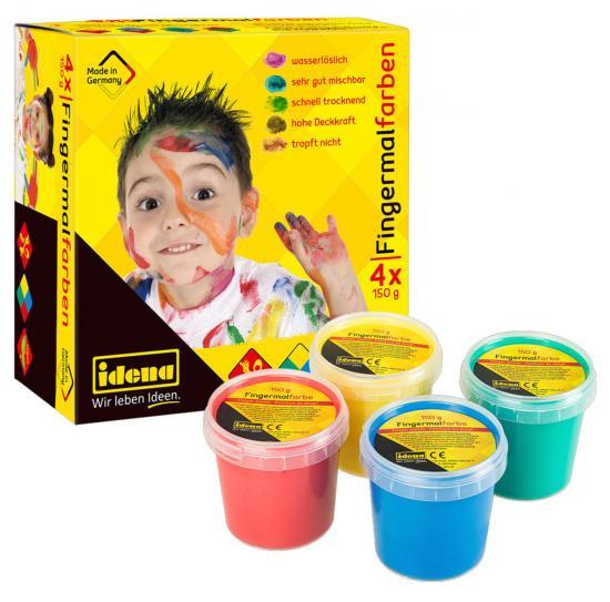 Fingermalfarben, 4 x 150 g, blau/grün/gelb/rot
