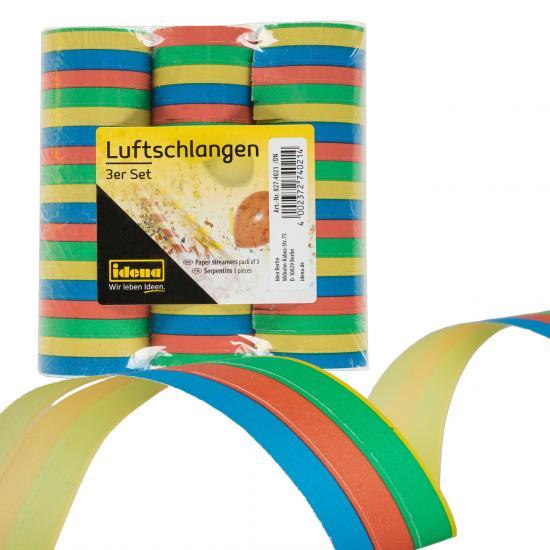 Luftschlangen, 3 Stück à 18 Abrisse, mehrfarbig