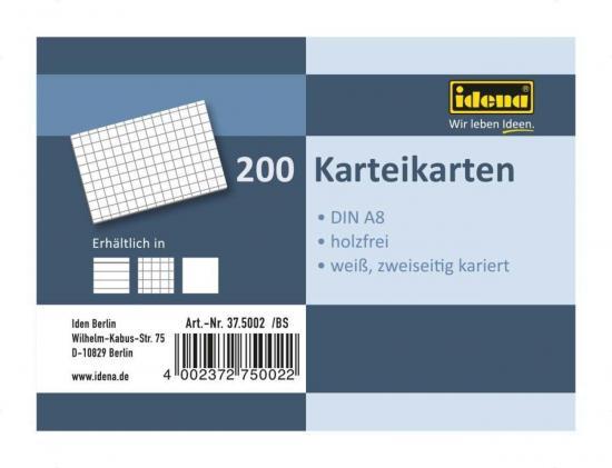 Karteikarten, DIN A8, 200 Stück, 180 g, kariert, holzfrei, weiß
