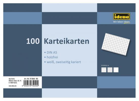 Karteikarten, DIN A5, 100 Stück, 180 g, kariert, holzfrei, weiß