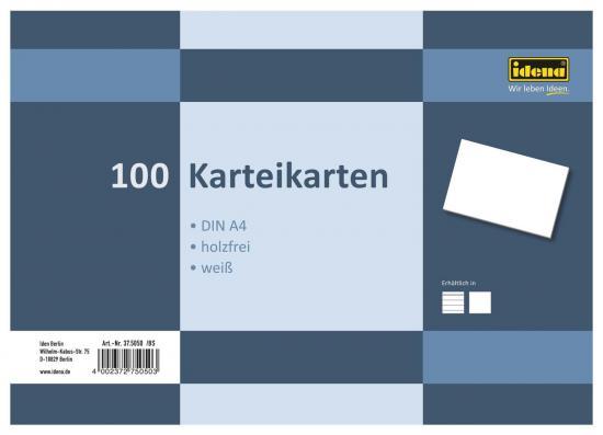 Karteikarten, DIN A4, 100 Stück, 180 g, blanko, holzfrei, weiß