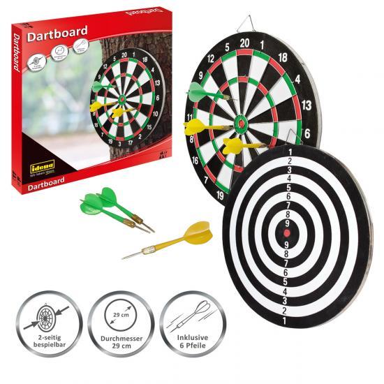 Dartboard, 29 cm Durchmesser, mit 6 Pfeilen und Spielanleitung