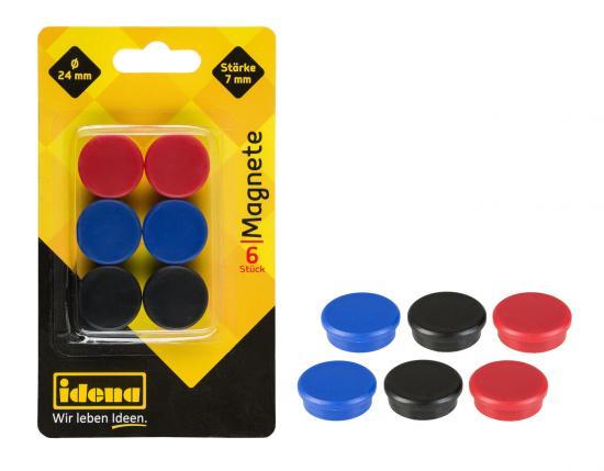 Magnete, 6 Stück, rund, 24 mm Durchmesser, 7 mm Stärke, sortiert