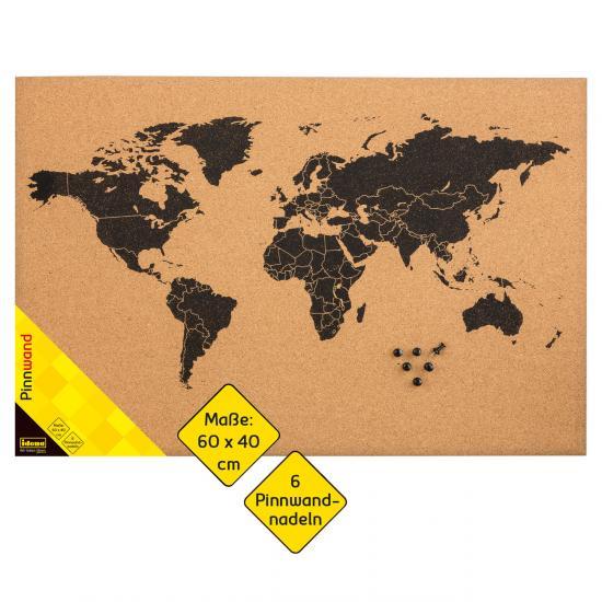 "Pinnwand ""Weltkarte"", 60 x 40 cm,  mit 6 Pinnwandnadeln"