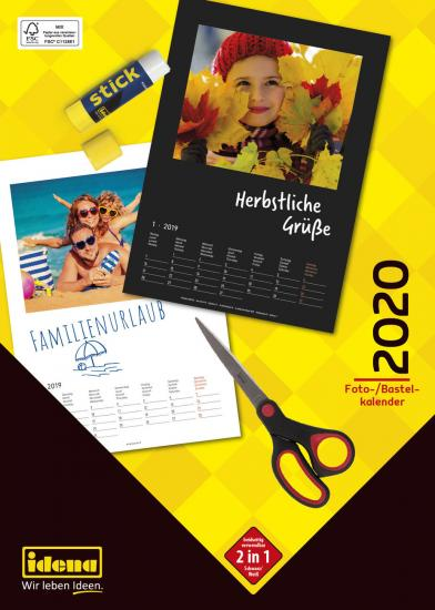 Bastelkalender 2020,  29,5 x 20,5 cm, beidseitig verwendbar, Wire-O-Bindung