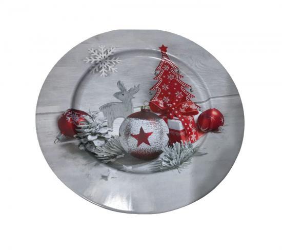 Metallteller,  Ø 25 cm, mit Weihnachtsmotiv