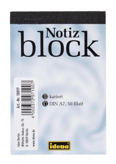 Notizblock, DIN A7, 50 Blatt, 70 g/m², kariert, kopfgeleimt
