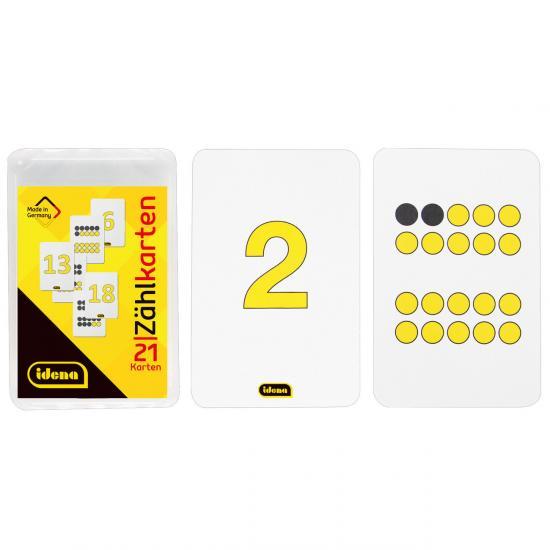 Zählkarten, 21 Stück, Zahlen von 0 - 20