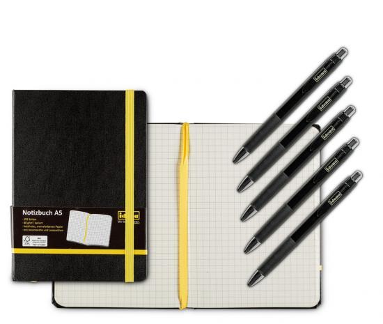 Notiz-Set mit 1 Notizbuch A5, FSC® Mix, kariert & 5 Kugelschreiber