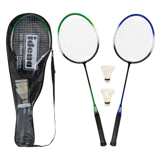 Badminton-Set, 2 Schläger & 2 Federbälle mit Transporttasche