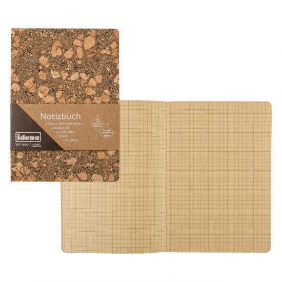 Notizbuch aus recyceltem Papier, mit Korkeinband, 20 x 14 cm, kariert