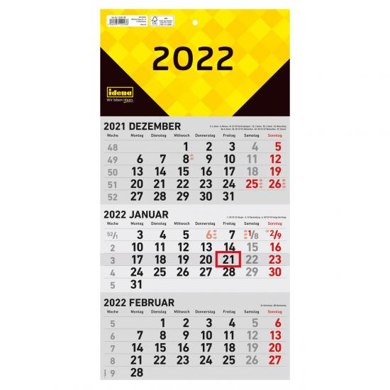 3-Monatswandkalender 2022, FSC® Mix, 24 x 45 cm
