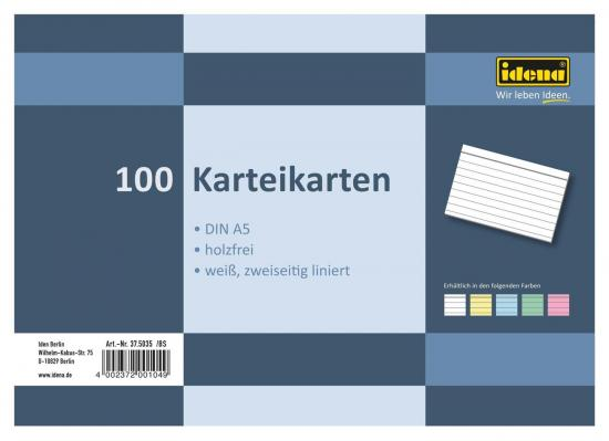 Karteikarten, DIN A5, 100 Stück, 180 g, liniert, holzfrei