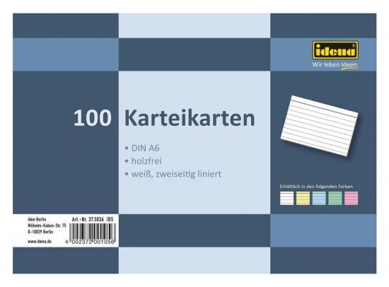 Karteikarten, DIN A6, 100 Stück, 180 g, liniert, holzfrei