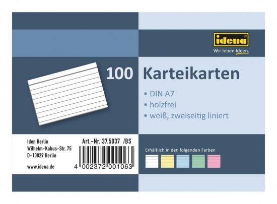 Karteikarten, DIN A7, 100 Stück, 180 g, liniert, holzfrei