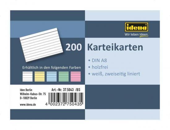 Karteikarten, DIN A8, 200 Stück, 180 g, liniert, holzfrei