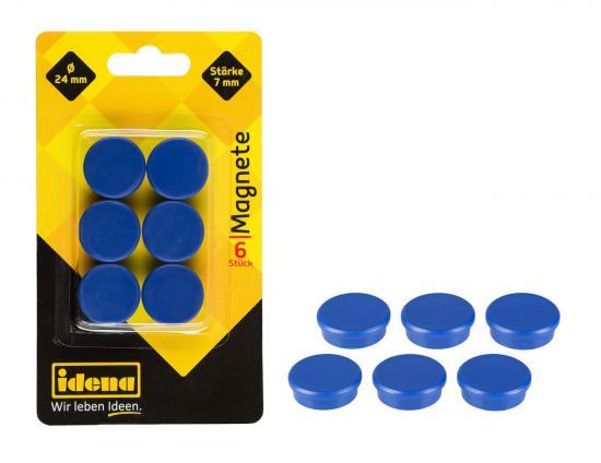 Magnete, 6 Stück, rund, 24 mm Durchmesser, 7 mm Stärke