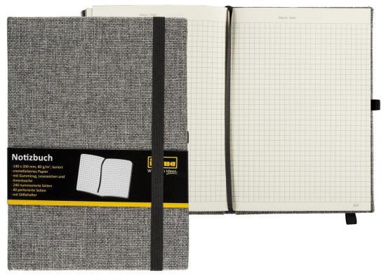 Notizbuch Textil, FSC® Mix, 14 x 20 cm, 240 Seiten, 80 g/m², kariert, Hardcover