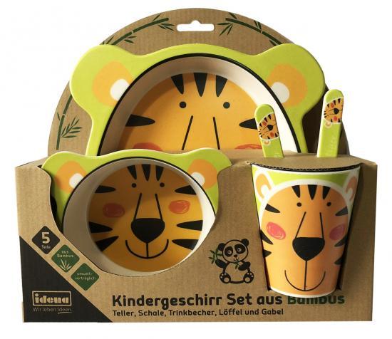 Kindergeschirr Set Tiger, aus Bambus, 5-teilig