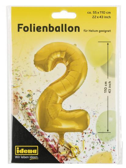 "Folienballon ""2"", 55 x 110 cm, für Helium geeignet"