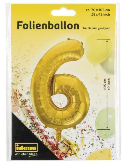 "Folienballon ""6"", 70 x 105 cm, für Helium geeignet"