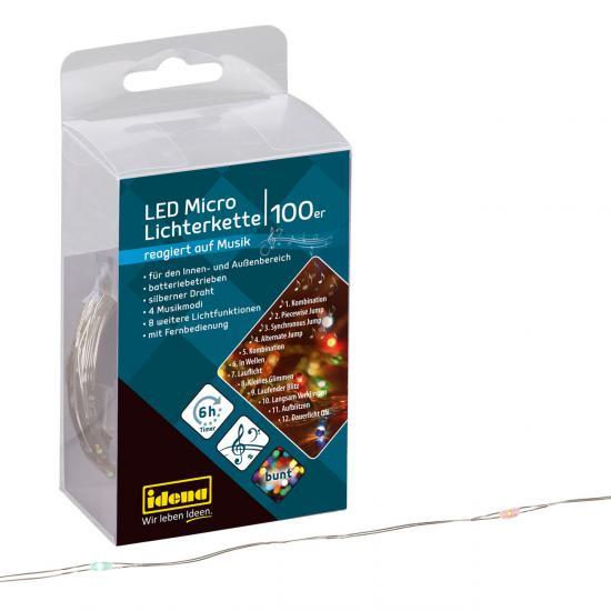 100er LED Micro Lichterkette, reagiert auf Musik, warmweiß, für innen & außen, mit vielen Funktionen & Fernbedienung