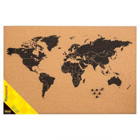 Kork Pinnwand mit Weltkarte 60 x 40cm Größe