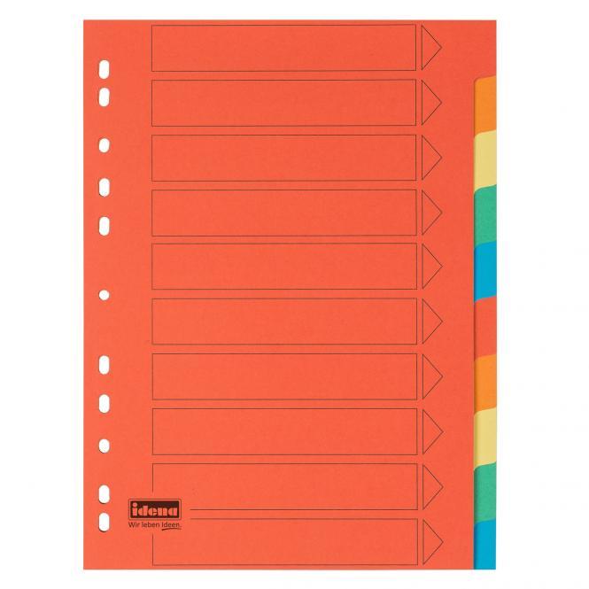 170g Idena Kartonregister 10-teilig 5 Farben